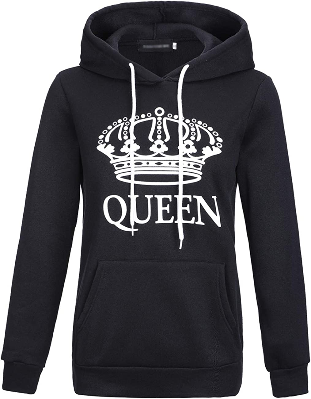 ULEEMARK Coppie Felpa con Cappuccio King/&Queen Corona Stampa Felpe Pullover Uomo e Donna