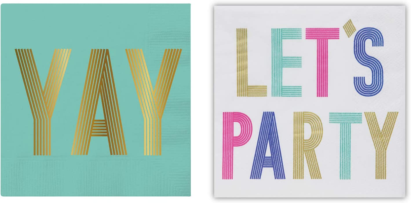 Funny Cocktail Napkins, 20 Each of Yay and Lets Party Disposable Paper Napkins, 40 Count Total