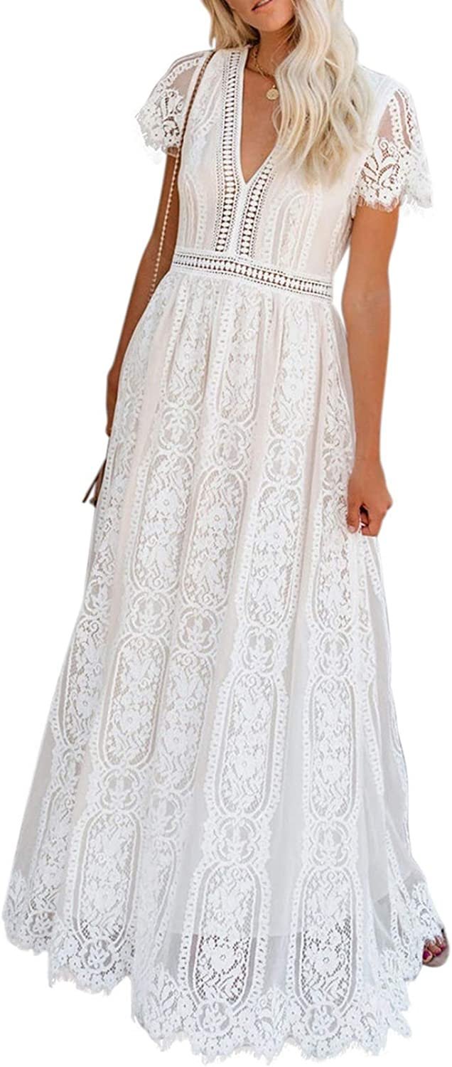 Amazon Com Bdcoco Women S V Neck Floral Lace Wedding Dress Short Sleeve Bridesmaid Evening Party Maxi Dress Clothing Mother daughter wedding dress ball gown off shoulder short bridesmaid birthday party princess mom and daughter dress clothes. bdcoco women s v neck floral lace wedding dress short sleeve bridesmaid evening party maxi dress