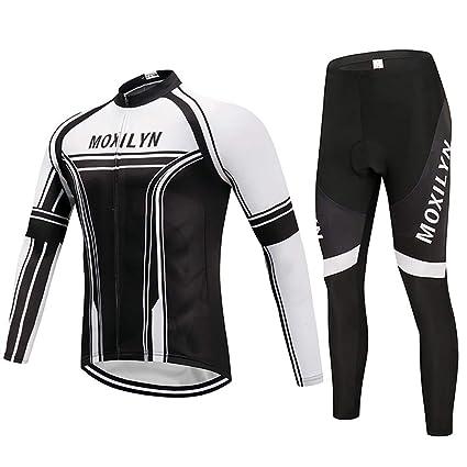 Moxilyn Traje Jerseys de Ciclismo para Hombre,Conjunto Ropa de Ciclo Manga Larga,Pantalones Acolchados Top + 9D de Manga Larga Pantalones,A Prueba de ...