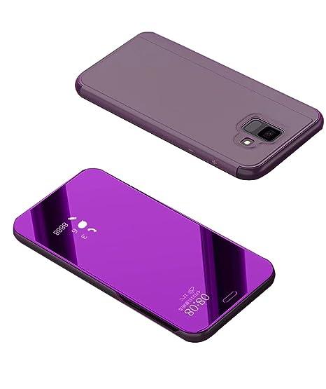 2ndSpring Samsung Galaxy J6 2018 Funda,Galaxy J6 2018 Flip Cover Carcasa Soporte Plegable,Modelo Inteligente Fecha/Hora Ver Espejo Brillante tirón del ...