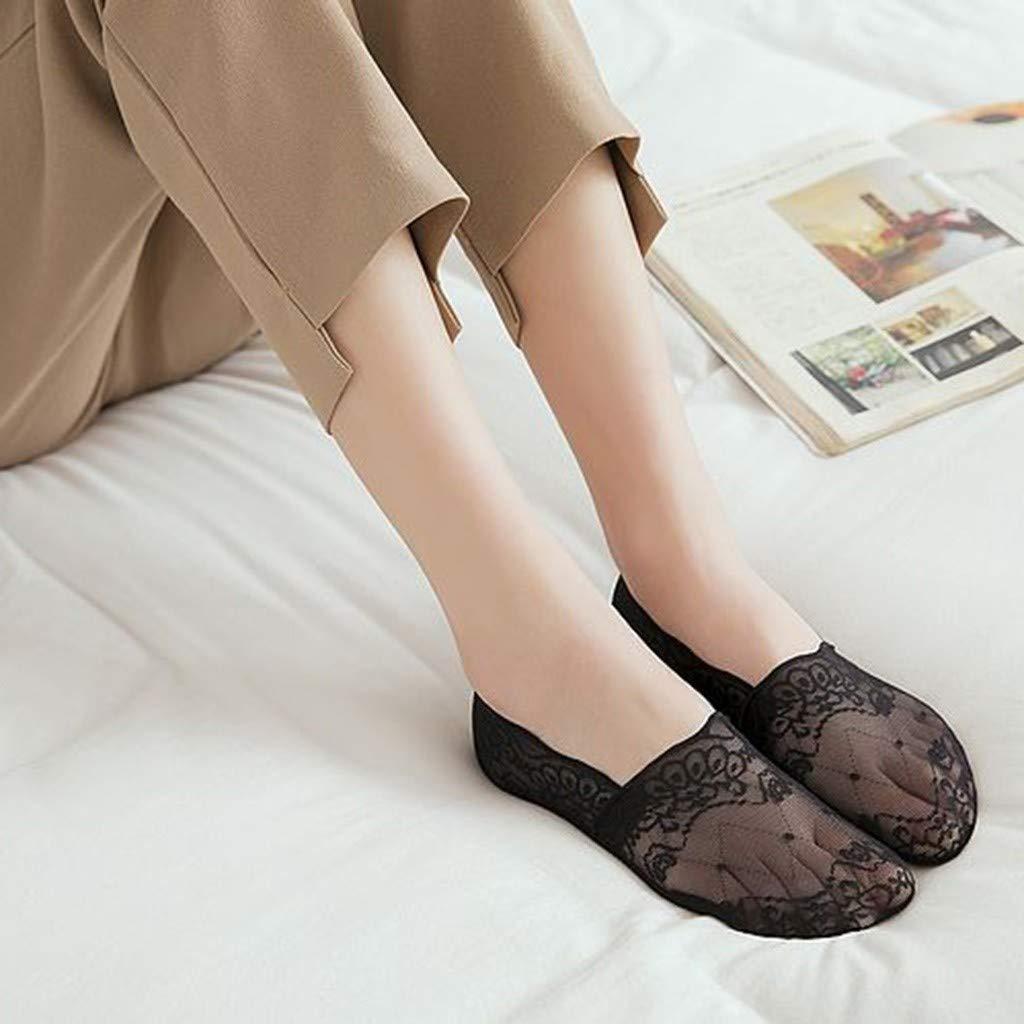 Venta caliente!Calcetines Mujer Cortos Algodon Medias de Encaje Calcetines Invisibles Mujer Silicona Antideslizante ❤☀URIBAKY/®