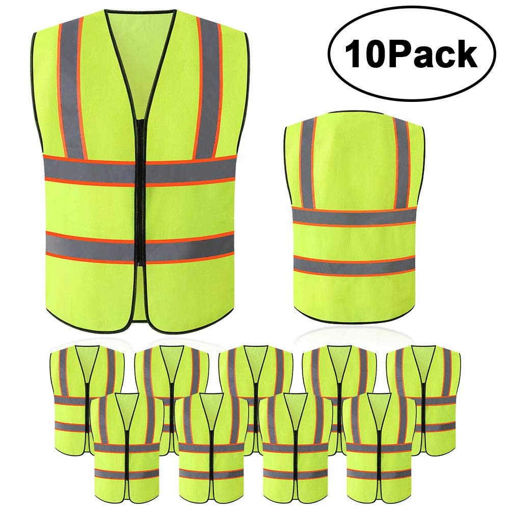 Tekware Safety Vest with High Reflective Strips, Pack of 10 Bright Neon Color Construction Protector with Zipper