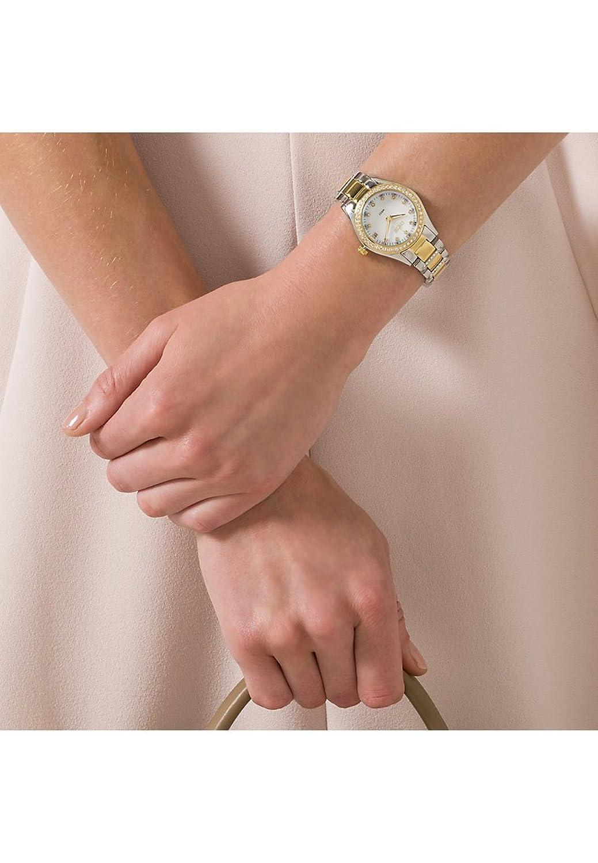 CHRIST times Damen-Armbanduhr Klassik Edelstahl Analog Quarz One Size - perlmutt - bicolor-perlmutt