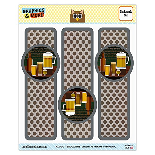 Lager Pilsner (Set of 3 Glossy Laminated Bookmarks - Food Drink Bacon Coffee - Beer Glasses Ale Pilsner Stout Lager)