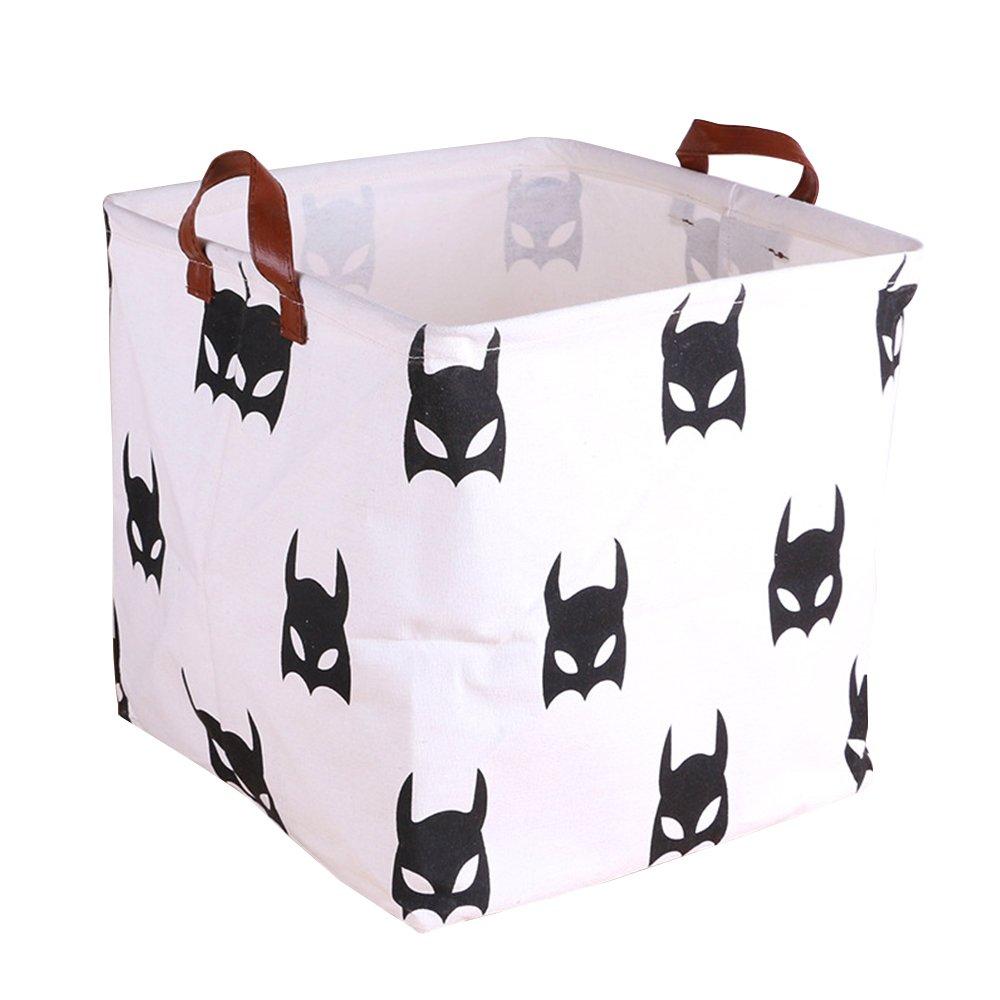 Folding Storage Cube Basket for Bedroom Bathroom Kids Cotton Linen White and Batman 12.5''x12.5''x12.5''