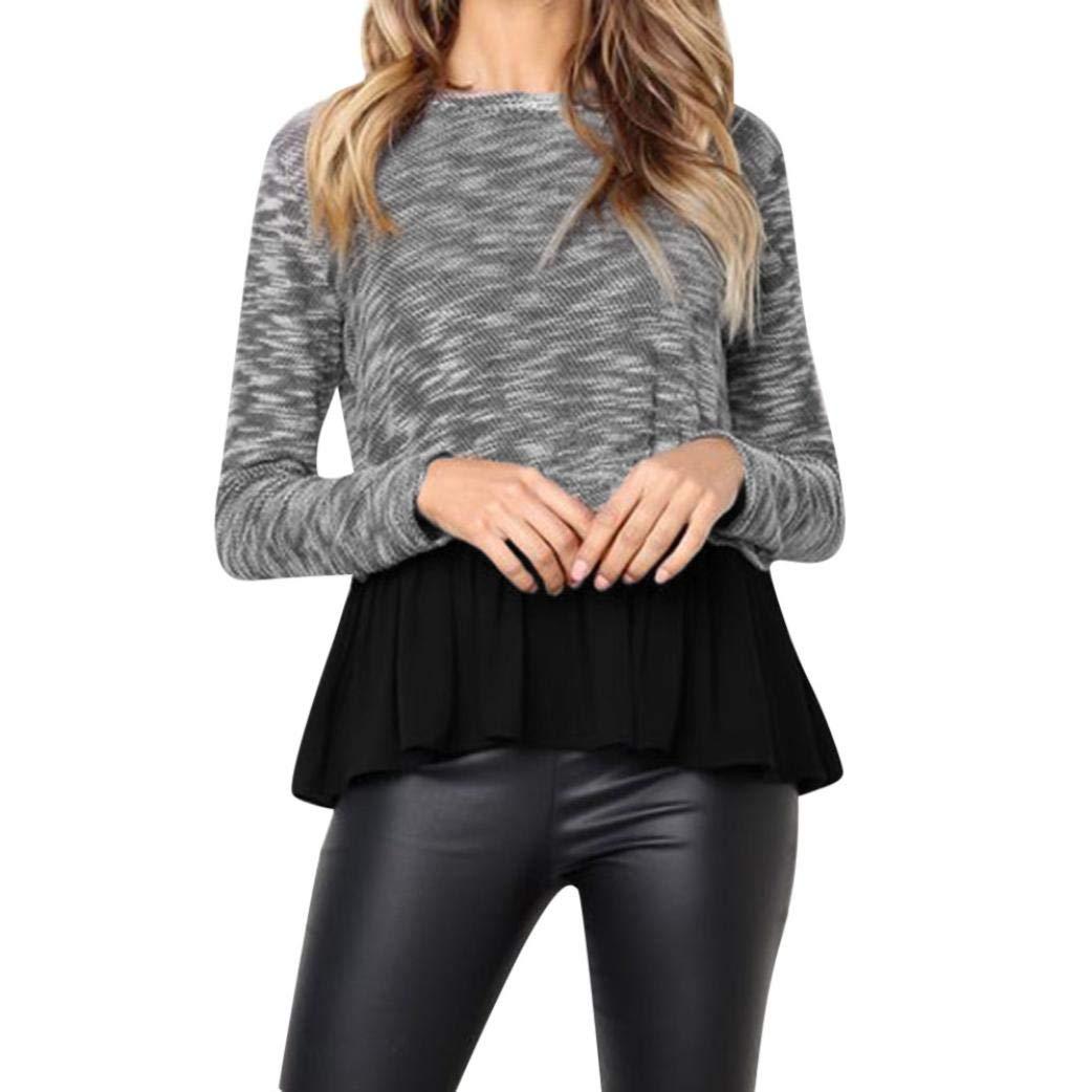 Women's Half Sleeves Plain Flowy Shirts Ruffles Hem Tunic Tops Blouses (M, Black)