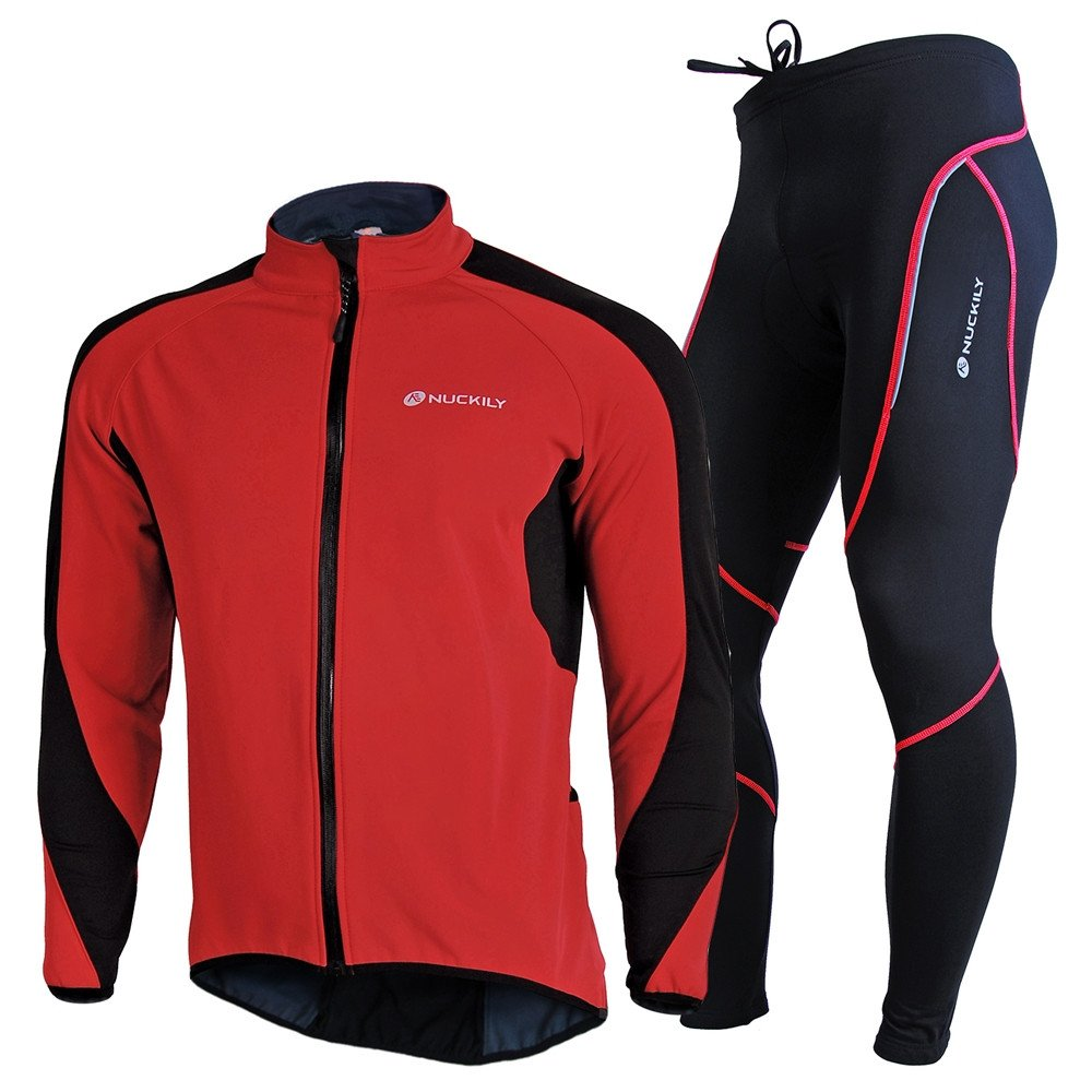 NUCKILY Men's Bicycle Jersey Suit Windproof Riding Composite Fleece Cycling Jacket Tights Set