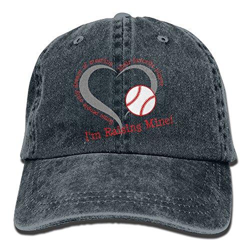 Uanqunan Baseball Heart Unisex Cotton Denim Baseball Cap Adjustable Strap Low Profile Plain Hats Navy