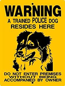 PotteLove Metal Sign Aluminum Warning Sign Notice Sign Dog Plaque Australian Shepherd Aluminum Sign 010 for Farmhouse Yard Garden Home Door Outdoor Sign