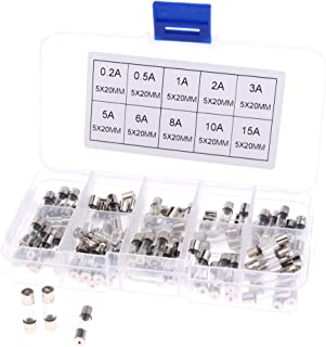 D DOLITY 100 Pieces 5mmx20mm Fast Acting Quick Blow Glass Fuse 0.2A 0.5A 1A 2A 3A 5A 6A 8A 10A 15A