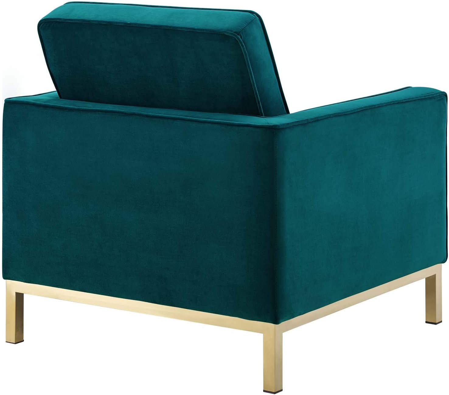 Modway Loft Tufted Button Performance Velvet Upholstered Accent Lounge Arm Chair in Gold Teal