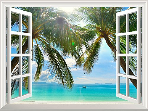 Tropical Island Decor (Wall26 Removable Wall Sticker / Wall Mural - Beautiful Sunny Beach on a Tropical Island with Palm Trees | Creative Window View Home Decor / Wall Decor - 36