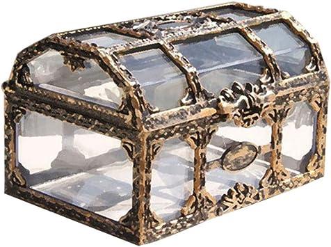 Toyvian Cofre del Tesoro Caja de Joyas de Recuerdo de Pirata Transparente Vintage Caja Decorativa de Metal para niños Favores de Fiesta de cumpleaños Pirata: Amazon.es: Juguetes y juegos
