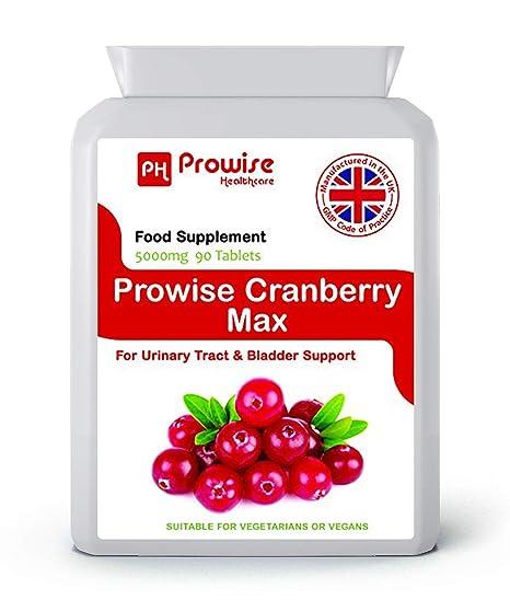 Prowise Cranberry 5000mg 90 comprimidos - Suplemento diario de alta resistencia - Reino Unido fabricado a GMP Calidad garantizada - Apto para ...