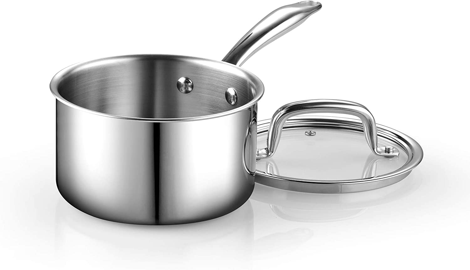 Cook N Home Tri Ply Clad Stainless Steel Sauce Pan With Lid 3 Quart Silver Amazon Co Uk Kitchen Home