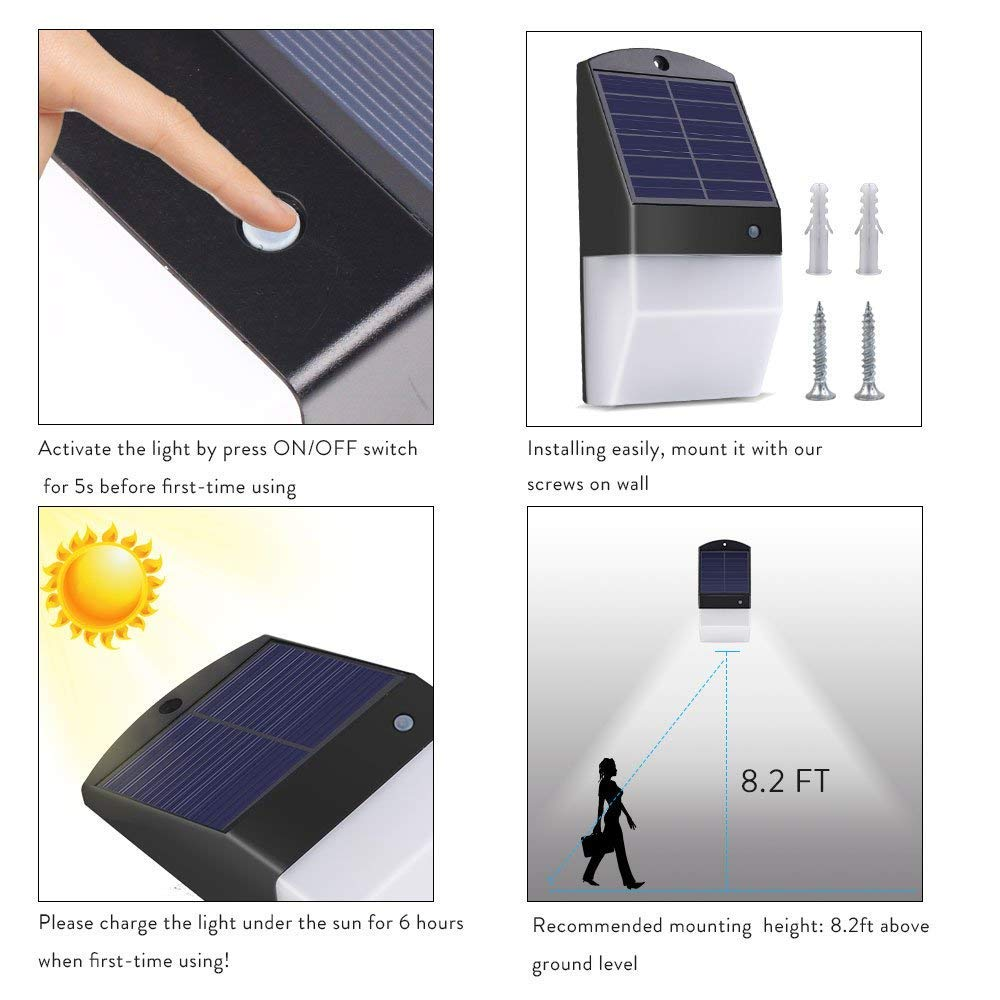 25 LEDs con sensor de movimiento luz solar brillante pared de seguridad, luces de noche, impermeable Wireless Sensor de radar de luz solar para exterior, ...