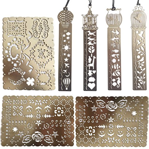 (Trycooling 7 In 1 Metal Stainless Steel Painting Hollow Multifunctional Bookmarks Portable Drawing Graffiti Template Ruler Stencils)