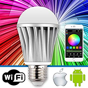Lumen8 Wi-Fi 7W Multi-Colored Smart LED Light Bulb; Smartphone Controlled, Dimmable - Works with iPhone, Android Phone and Tablets (WF7WS1)