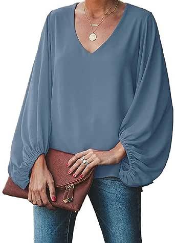 Beeatree Camisa Holgada de Gasa con Mangas Tipo Farol para Mujer: Amazon.es: Ropa y accesorios