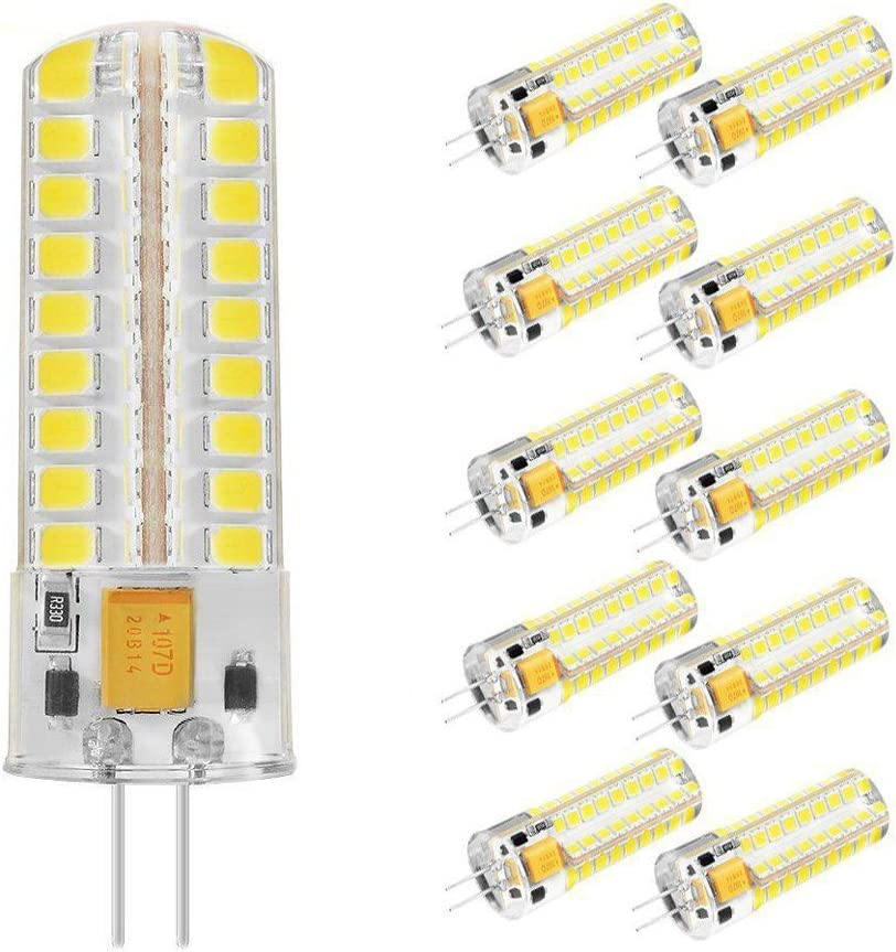 TINS G4 7W Bombilla LED Corn Light AC/DC 12V 550 Lúmenes Reemplazo 60W Halógena Light Cool White 5500K 360 Degree Light Angle,Pack de 10