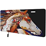 Ambesonne Horses License Plate High Gloss Aluminum Novelty Plate White Orange Green Andalusian Horse with a Majestic Dust Cloud Background Strong Desires Photo 5.88 X 11.88