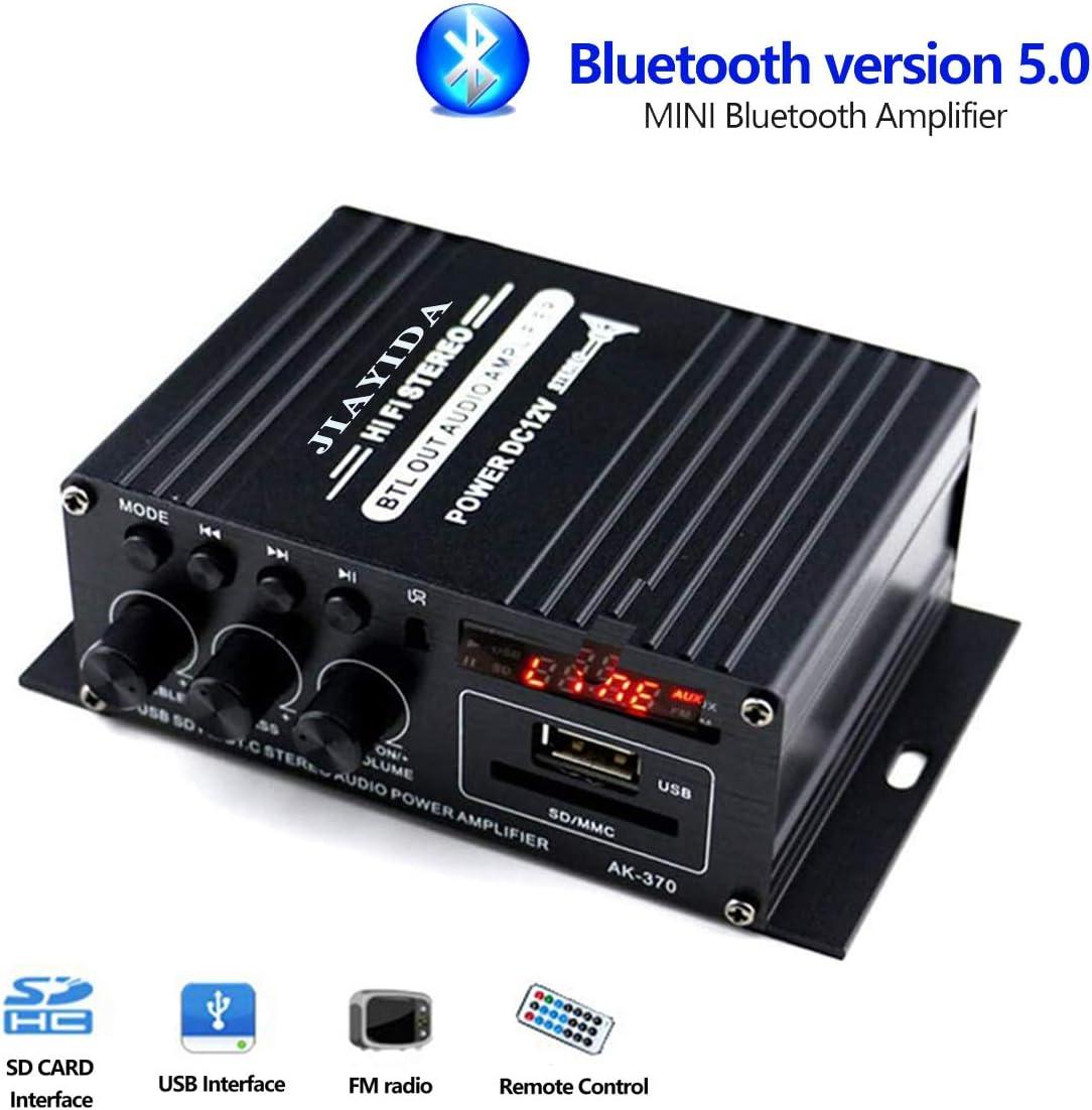 JIAYIDA Mini Amplificador Bluetooth 5.0 Digital 2 x 20W HiFi Audio Amp Super Bass para Tablet PC Portátiles Smartphone Auto Coche MP3 MP4 Altavoces, Usado en Casa, Auto