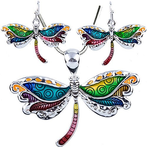 Enameled Dragonfly Earrings (DianaL Boutique Colorful Enameled Dragonfly Pendant Necklace and Earrings Set with 18