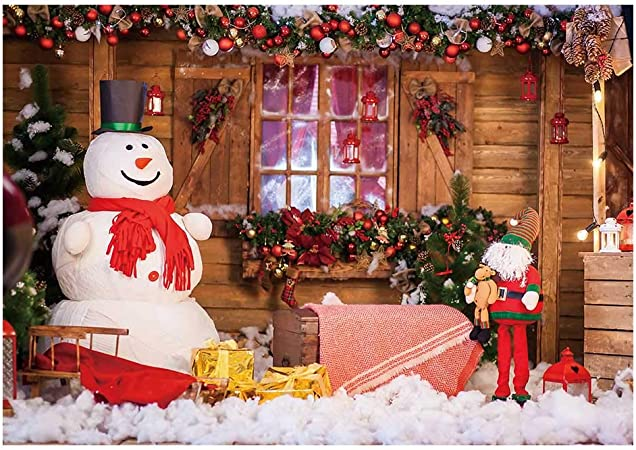 GESEN Christmas Backdrop 7x5ft Winter Snow Cabin Backdrop for Outdoor Activities Themed Party Background Photo Booth Studio Props PGGE539