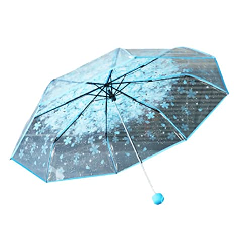 DAYAN Viajes paraguas transparente flor cerezo plegable lluvia boda Paraguas 8 costilla Tecnología UV para Niños