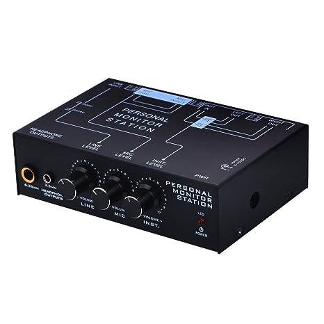 lzndeal Mezclador de Escucha de 3 Canales con Escucha estéreo ...