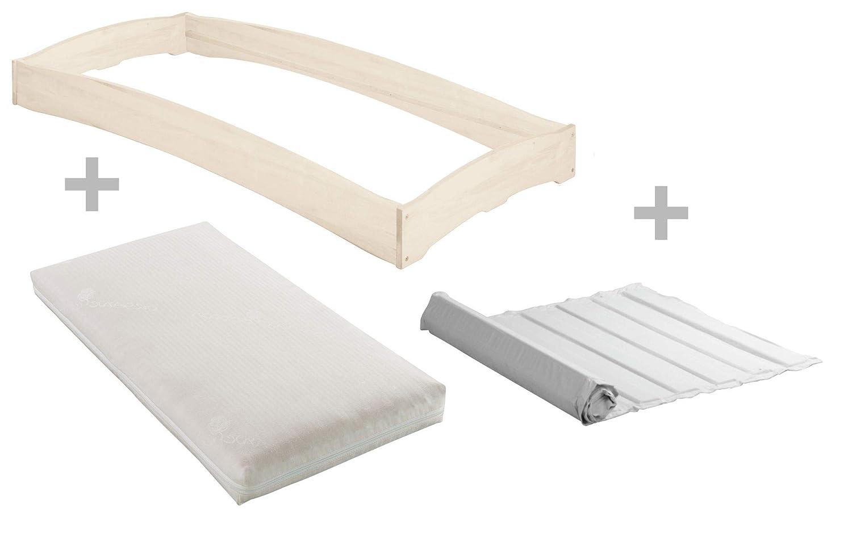 BioKinder Komplett-Set Leandro Stapelbett Stapelliege Gästebett mit Lattenrost und Matratze aus Massivholz Kiefer 90 x 200 cm weiß lasiert