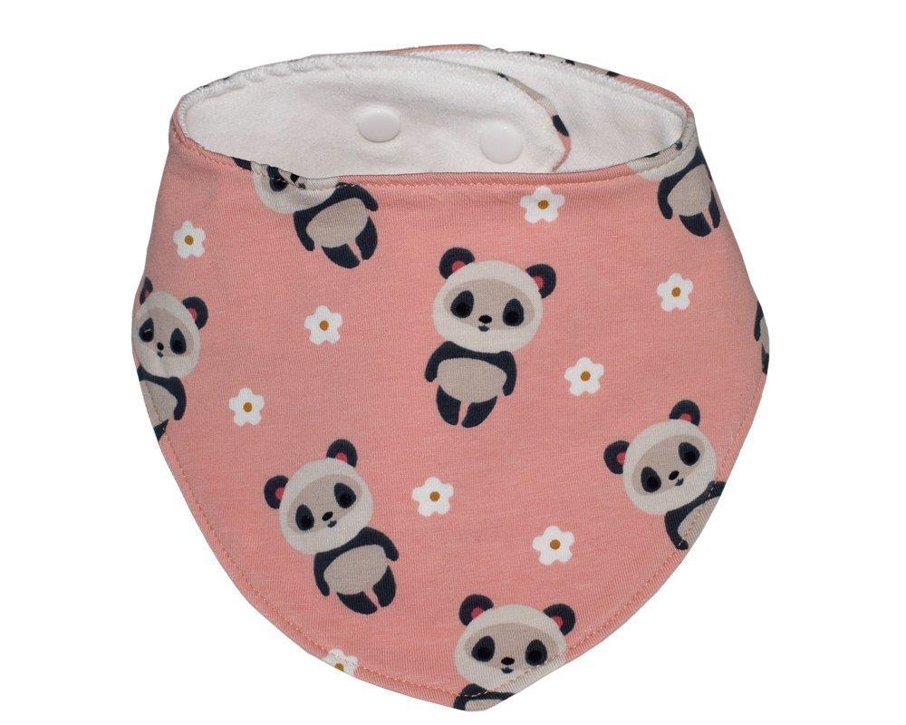 Babero bandana quitababas de algodón rosa con pandas para bebé y niña.