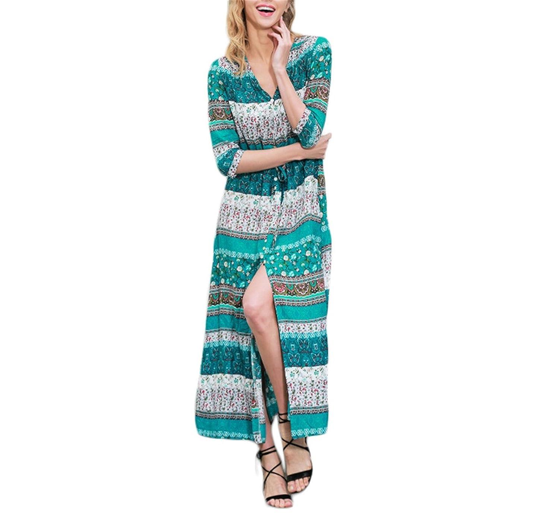 Amazon.com: Huide divisão Sexy boho paisley vestido estampado Mulheres de tiras do vintage causal maxi longo vestido de Verão beach dress vestidos NEW: ...
