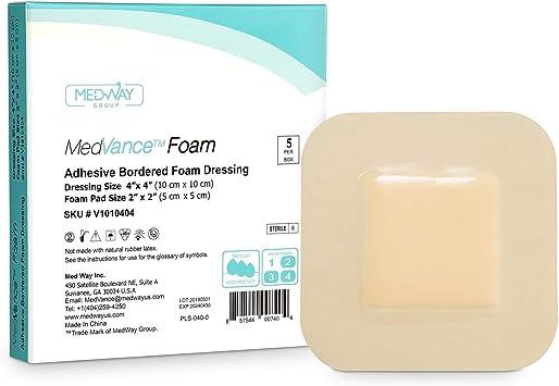 MedVanceTM Espuma: apósito adhesivo de espuma hidrofílica con borde 10 cm x 10 cm (almohadilla de 5 cm x 5 cm) Caja de 5 apósitos: Amazon.es: Salud y cuidado personal