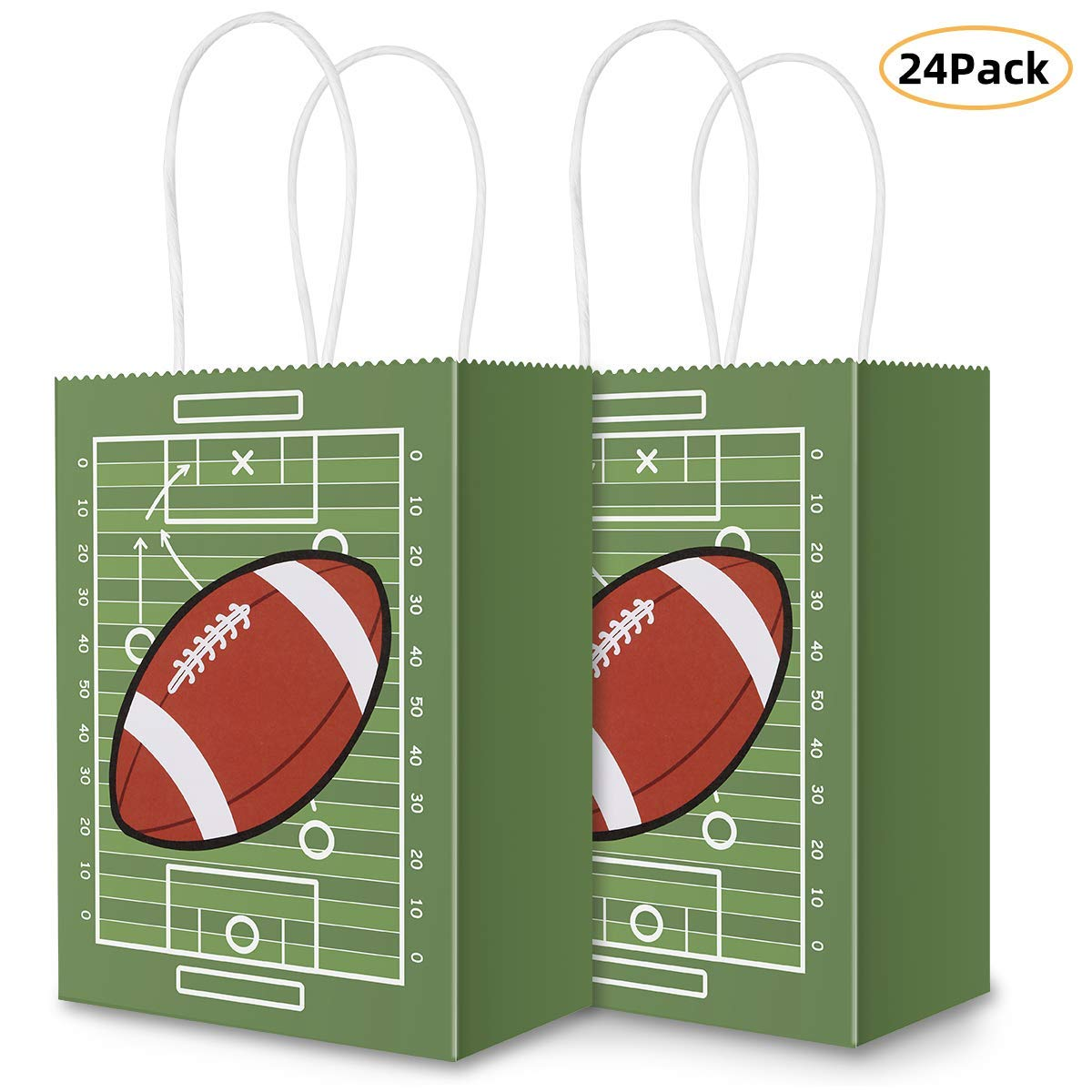 Football Party Bags Gift Bag Kraft Bag with Handle for Birthday,Football Goodie Bags,Football Theme Party Favor bags and and Football Party Celebrations(24Pack) by Sumapner