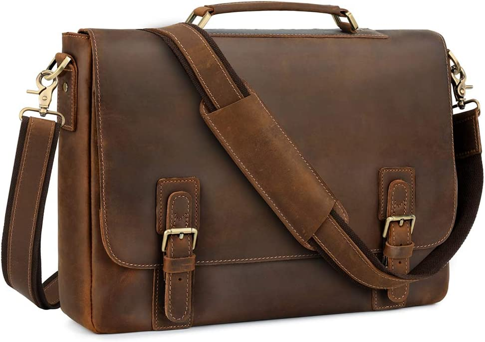 "Kattee Men's Leather Satchel Briefcase, 15.6"" Laptop Messenger Shoulder Bag Tote Coffee"