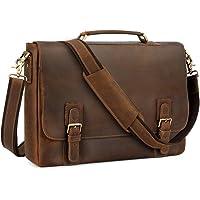 """Kattee Men's Leather Satchel Briefcase, 15.6"""" Laptop Messenger Shoulder Bag Tote"""
