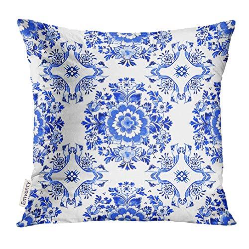(Golee Throw Pillow Cover White Delft Blue Style Watercolour Traditional Dutch Floral Tiled Flowers in Circular Rosette Cobalt Decorative Pillow Case Home Decor Square 18x18 Inches Pillowcase)