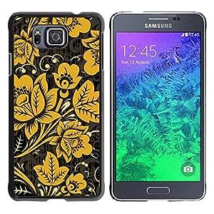For Samsung GALAXY ALPHA G850 Case , Mustard Black Wallpaper Vintage - Diseño Patrón Teléfono Caso Cubierta Case Bumper Duro Protección Case Cover Funda