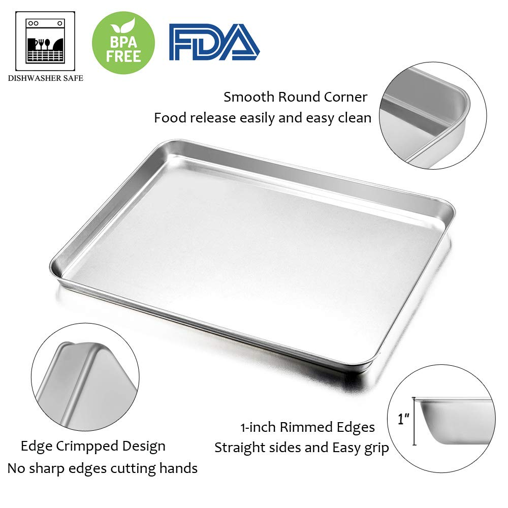 Baking Sheet with Rack Set, E-far Stainless Steel Baking Pans Tray Cookie Sheet with Cooling Rack, 16 x 12 x 1 inch, Non Toxic & Healthy, Rust Free & Dishwasher Safe - 4 Pieces (2 Sheets + 2 Racks) by E-far (Image #3)