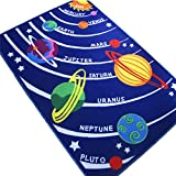 Kids Educational Galaxy Planets Stars,Fun Rugs Fun Time Solar System Rectangle Rug