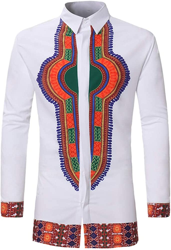 MODOQO Mens African Shirt,Holiday Casual Loose Fit Short Sleeve Henley T Shirt