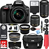 : Nikon D3400 24.2 MP DSLR Camera + AF-P DX 18-55mm & 70-300mm NIKKOR Zoom Lens Kit + 64GB Memory Bundle + Nikon Photo Bag + Wide Angle Lens + 2x Telephoto Lens + Flash + Remote +Tripod+Filters (Black)