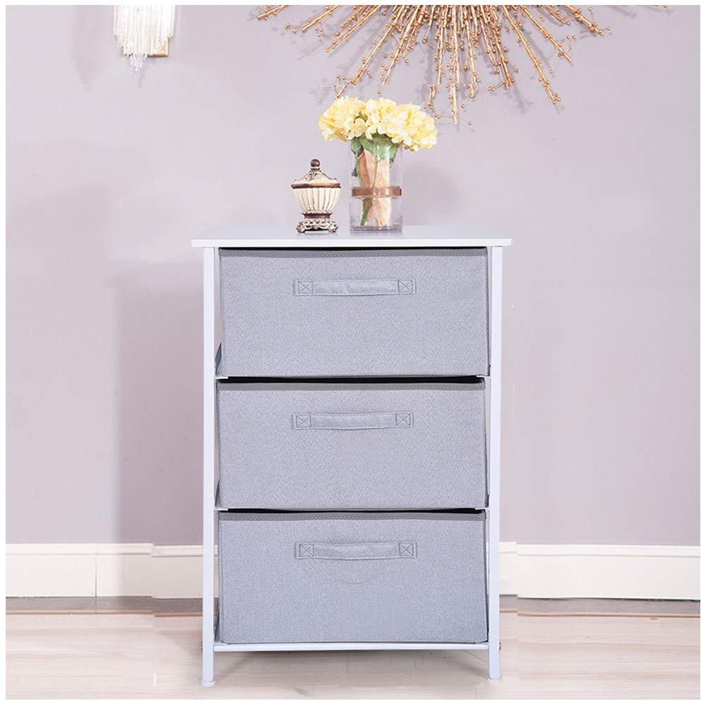 Leadmall Organization Drawers Tower   3-Layered Wide Dresser Fabric Storage Bin Sturdy Steel Frame Wood Top Cabinet   Lightweight and Perfect for Dorms, Bedrooms, Hallway (Gray) by Leadmall