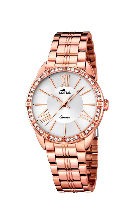 e1e568c039a7 Reloj Lotus Trendy de mujer de acero inoxidable chapado en oro rosa con  esfera plateada. Piedras en el bisel.