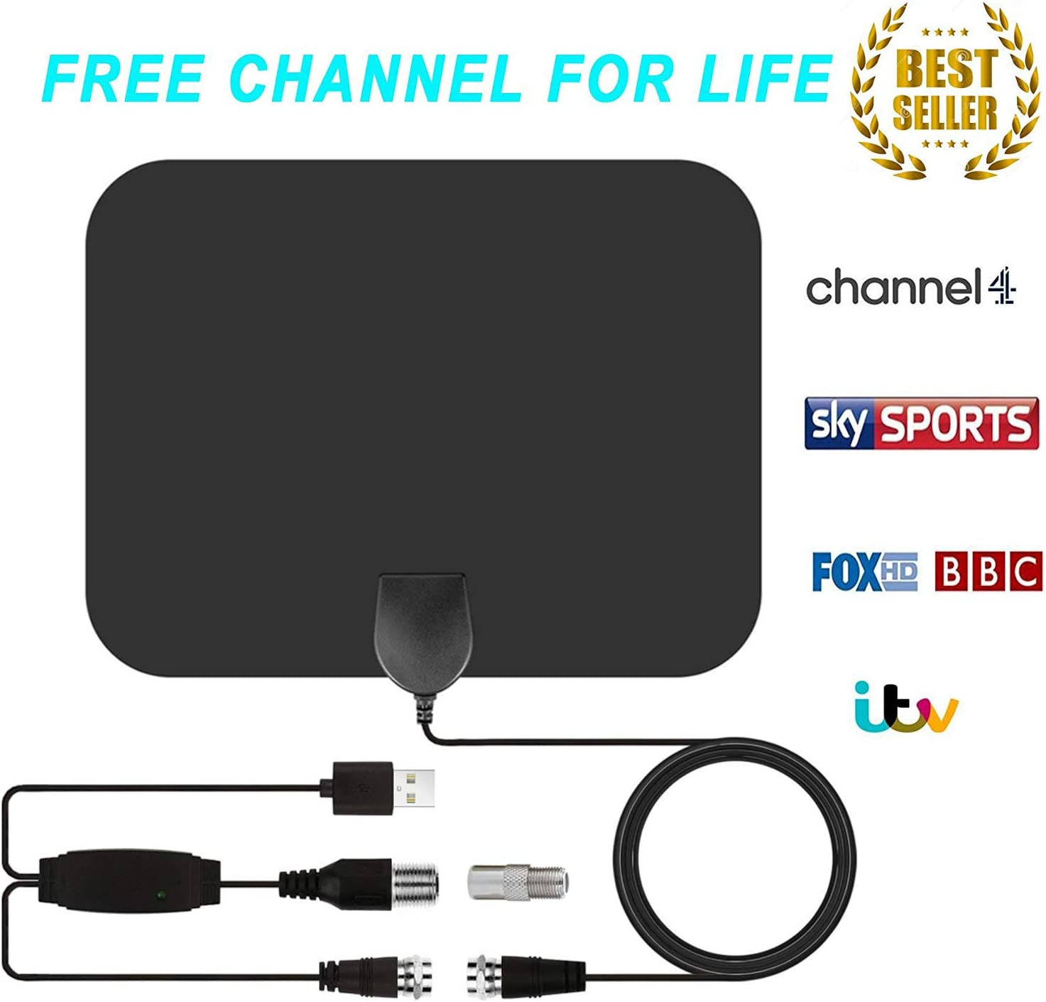 TV Antena, Antena de TV Digital de Interior HD con 80 Millas Largo Alcance Amplificador de señal Amplificador HDTV Upgraded version-10ft Cable Coaxial