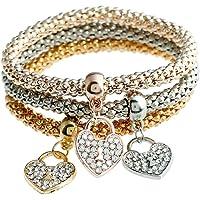 aloiness 3Pcs Charms Heart Pendent Elegant Jewellery Hand Chain Bracelet for Women
