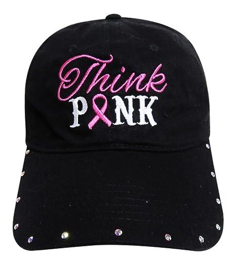 f824dabf50588 Think Pink Pink Ribbon Breast Cancer Baseball Cap w Swarovski Crystal Hat  Headwear (Black