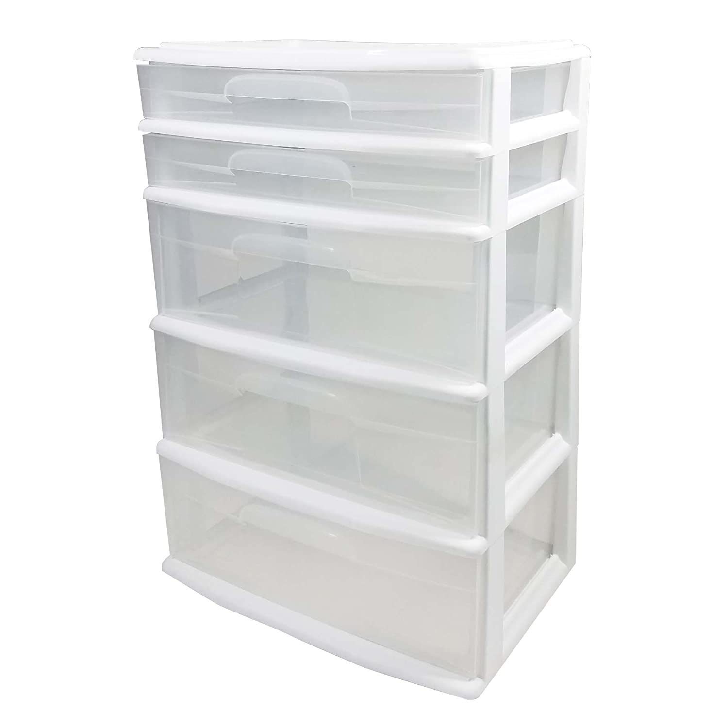 Amazon.com: HOMZ Plastic 5 Wide Storage Tower, White Frame, Clear Drawers,  Set Of 1: Home U0026 Kitchen